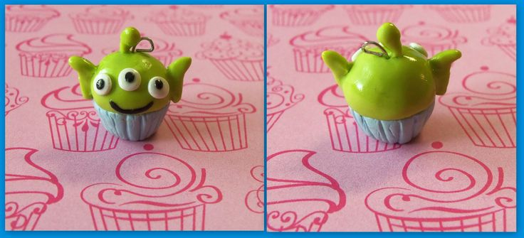 """toy story alien cupcake """"strangers, from the outside. oooohhhhhh""""  #toystory #alien #cupcake #polymerclay  visit my shop on etsy! www.etsy.com/shop/TheCraftyWhale"""