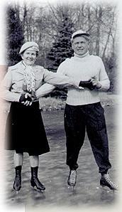 Clara y Joseph Pilates patinando.