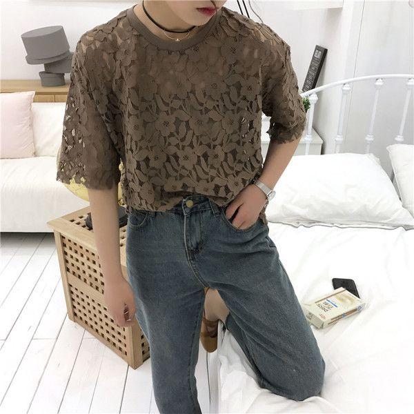 lace see through t shirts 1521▼サイズ:ワンサイズバスト98 ショルダー48 着丈54 袖丈22画像を参考にお好きなカラーをお選び下さい☆発着期間:10日〜3週間でお届けします。Shopの注意事項をよく読んでから、ご購入をお願い致します♪( ´▽`)キーワード:韓国ファッション、オルチャンファッション、プチプラファッション、レディースファッション、夏物、夏服、シースルー、レースシャツ、半袖tシャツ