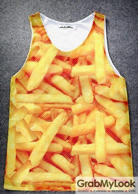 GrabMyLook Yellow French Fries Net Sleeveless Mens T shirt Vest Sports Tank Top