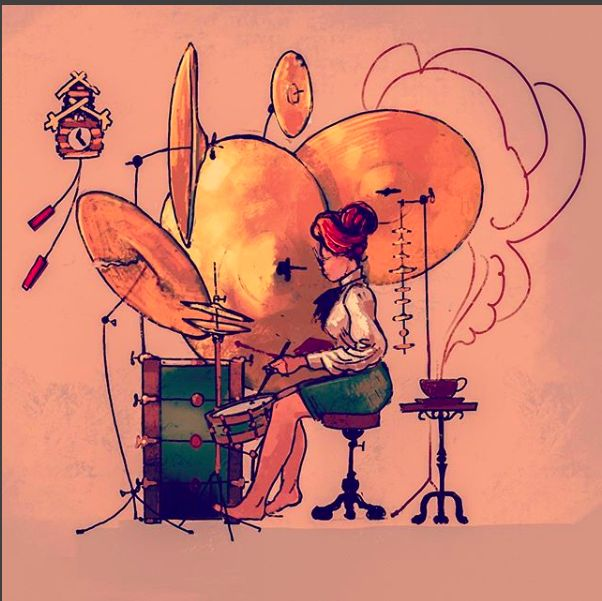 librarian drummer #drummer #femaledrumer #victorian #character #cymbal #drumkit #barefoot #crashcymbal #afternoontea #music #coocooclock