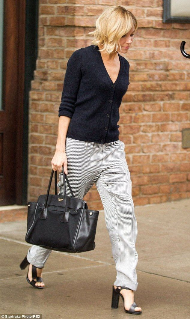 Sienna Miller.. Chinti and Parker Cardigan, Belstaff Spring 2015 Vivian Trousers, Pierre Hardy Resort 2015 Sandals, and Prada Canapa and Saffiano Tote..... - Celebrity Fashion Trends