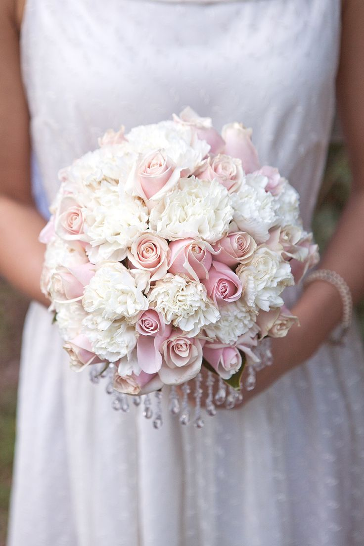 White Carnation And Light Pink Roses Bouquet