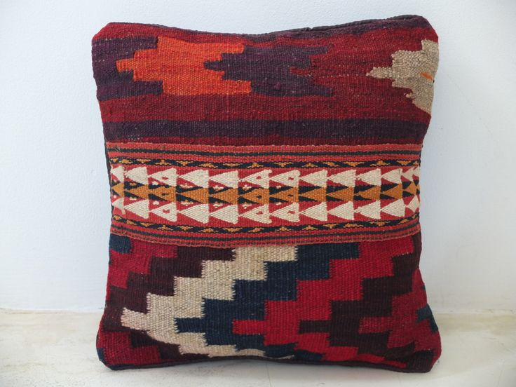 Handwoven Arabic Pillow Cover - Thick Wool - Persian Red/Orange Accent - 16' Inch (40x40 cm) - Bohomian/Boho Vintage Cushion. See on Etsy: https://www.etsy.com/listing/197375177/handwoven-arabic-pillow-cover-thick-wool?ref=shop_home_active_9
