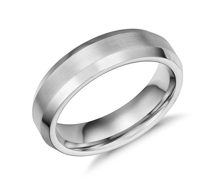 beveled edge matte wedding ring in cobalt 6mm