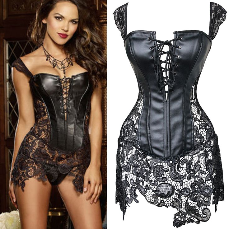 X 4 Style Steampunk Faux Leather Lace up Steel Boned Bustier Top Corset Overbust Black Brocade Size S M L XL--6XL alishoppbrasil