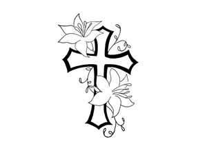 Free Designs  Cross With Flower Contour Tattoo Wallpaper