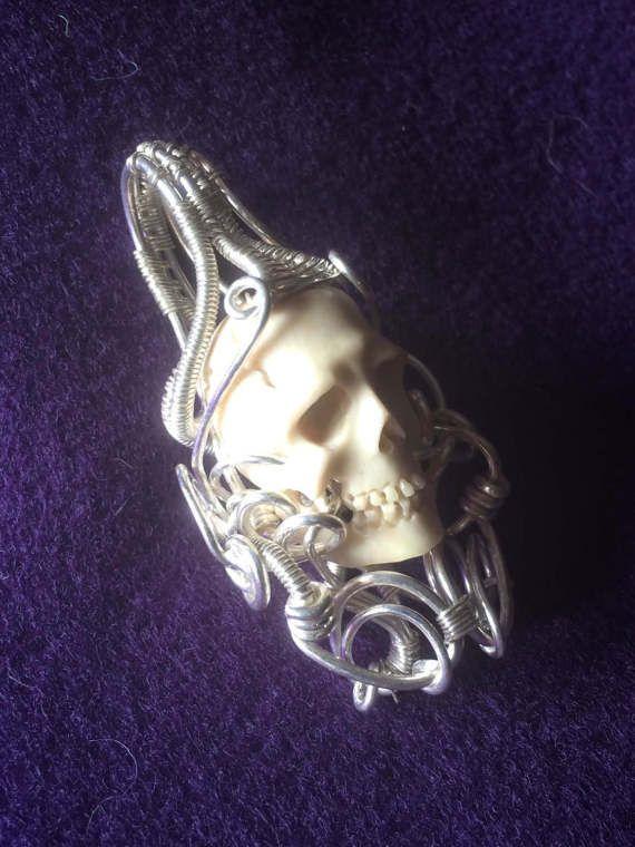 Wire Wrap Skull Pendant by OneGuiltySparkOnEtsy on Etsy