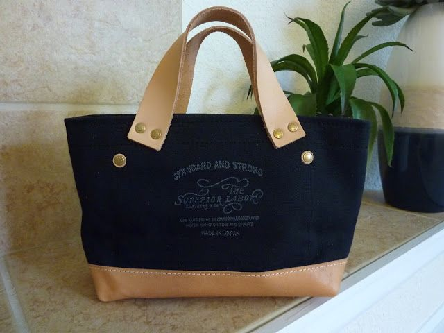 p.Yuna: The Superior Labor Petite Tote in Black Canvas with Leather Bottom