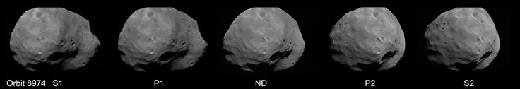 The view of Phobos from all five channels on Mars Express' High Resolution Stereo Camera.