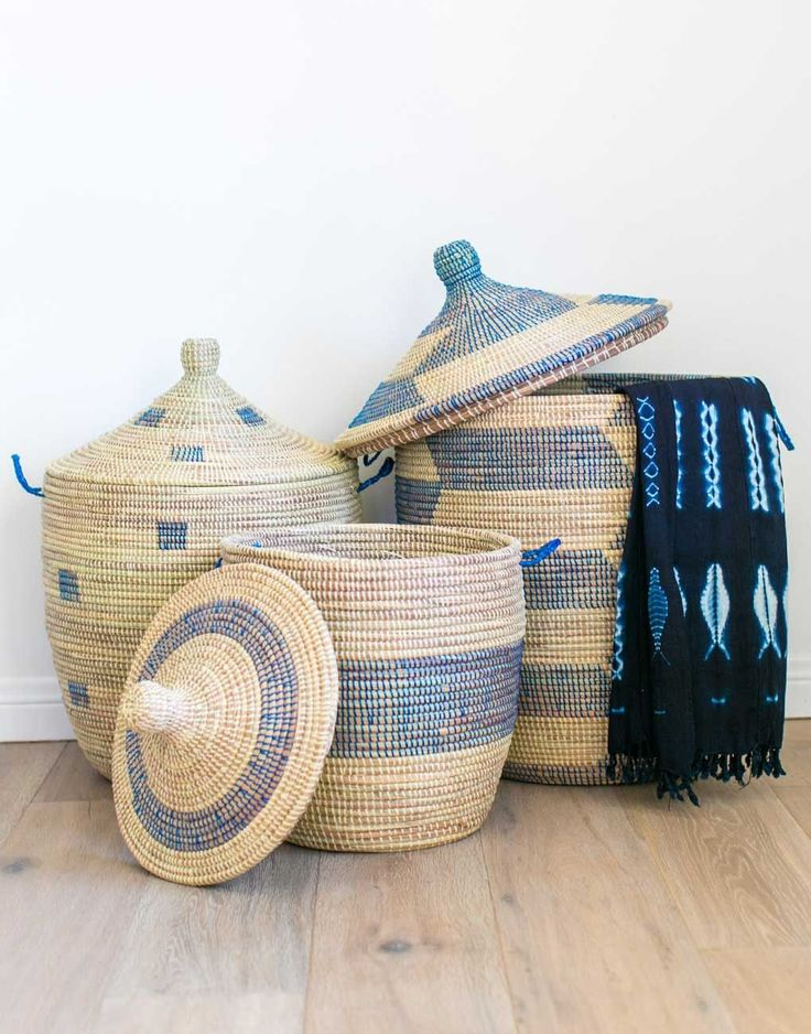 Fair Trade, Handwoven, Blue Herringbone Whimsical Hamper