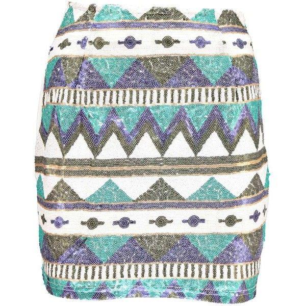 Boohoo Rania Zig Zag Sequin Mini Skirt (82 BRL) ❤ liked on Polyvore featuring skirts, mini skirts, bottoms, short skirts, white mini skirt, white sequin skirt, short white skirt and white skirt