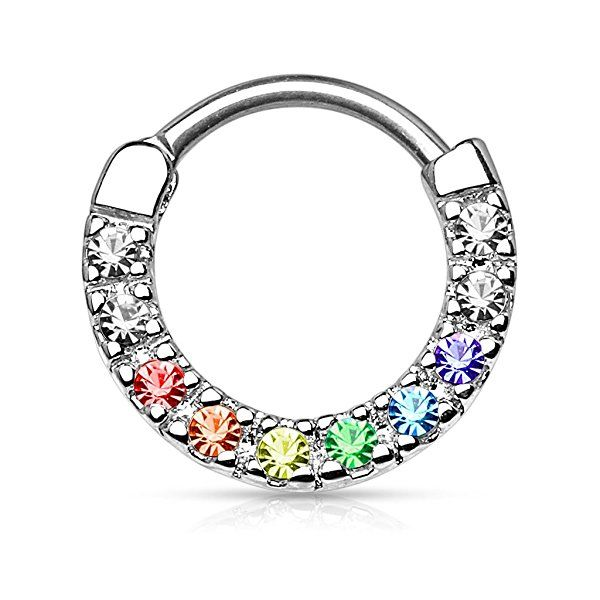 Gekko Body Jewellery Septum Clicker Nose Daith with Ten Paved Multi-Coloured Gems