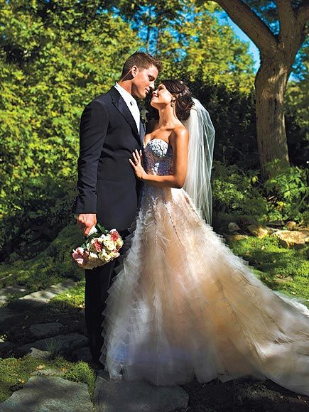 """Pink wedding dresses: JENNA DEWAN-TATUM Walking down the aisle to wed Channing Tatum on July 11, 2009, the actress glowed in a pastel-and-ivory Reem Acra couture ball gown. """"Her input on what she envisioned for her gown was essential,"""" the designer told PEOPLE of the bride."""