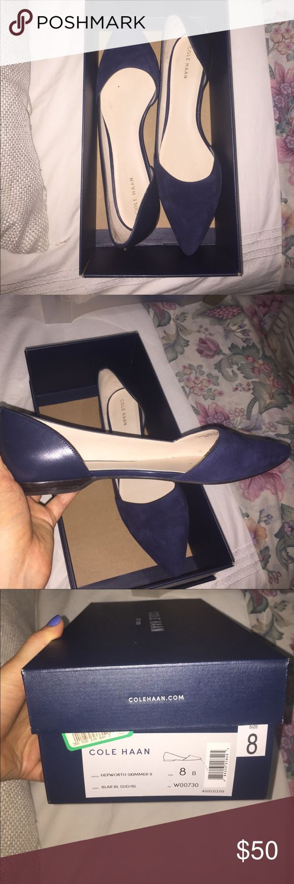 Cole Hann Navy Blue Flat Very lightly worn! I purchased these when I was interviewing. I've worn them less than a handful of times. Cole Haan Shoes Flats & Loafers