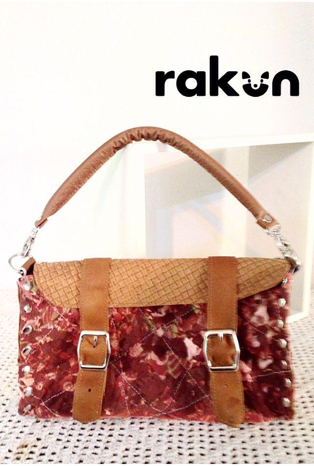 Cartera de mano, en cuero reciclado y tela hecha por medio de residuos textiles. www.facebook.com/rakun.dt