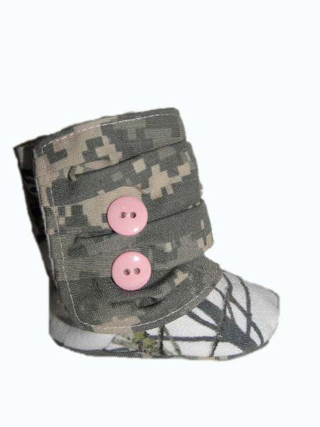 Army ACU and Snowy Mossy Oak Baby Boots by BellaLise Designs.