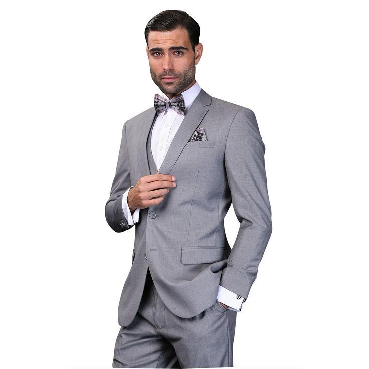 Look dapper in this three-piece Italian designed men's suit. With a slim fit design and high-quality wool construction, this suit is a stylish addition to your wardrobe. The suit has a fully lined 2-button jacket and flat front pants lined to the knee.