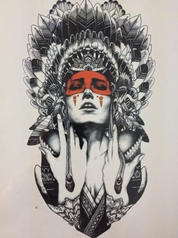 Cool Red Indian Sticker Tattoo