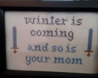 MATURE Game of Thrones Funny Cross Stitch Framed!  Decorate your place with very inappropriate fun!  Free shipping!
