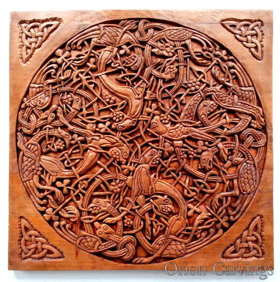 Celtic Wood carving Handmade Woodcarving Plate 14 by OrionCarvings