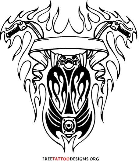 Tribal biker tattoo design