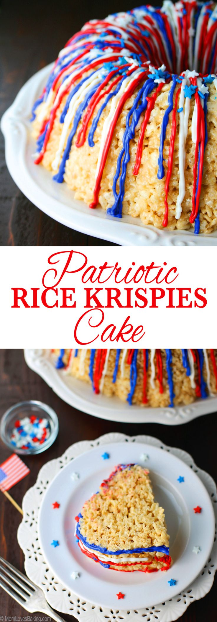 Patritotic Rice Krispies Cake! It's a great dessert for all ages, but especially the kiddos. Get the recipe on MomLovesBaking.com
