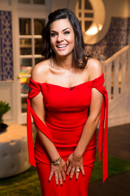 Nicole O'Neil at The Real Housewives of Sydney Reunion wearing Red Italian Lace Rebecca Vallance Ball Gown
