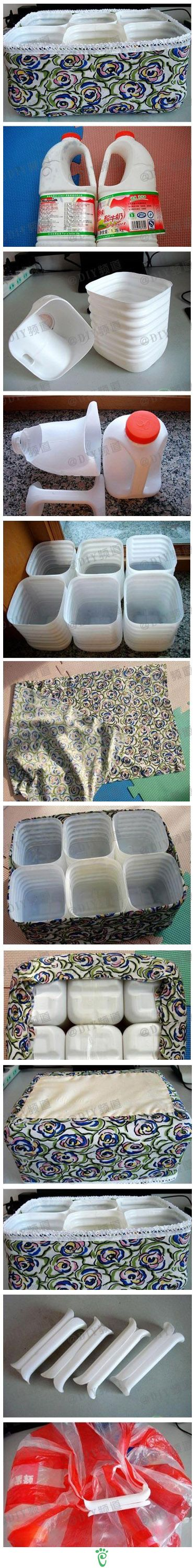 DIY Storage Bin - Use leftover handles to cover plastic bag handles.. easier on the hands