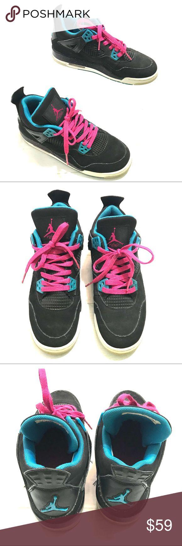 Air Jordan 4 Retro GS Black Vivid Pink Blue 5.5Y Air