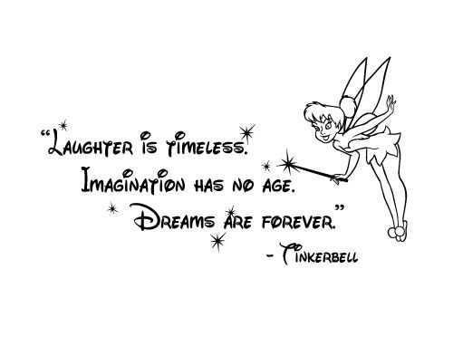 Disney Tinkerbell Quote: Laughter is Timeless Wall Words Sticker Decal.