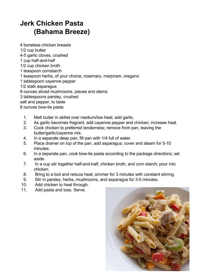 Bahama Breeze: Jerk Chicken Pasta