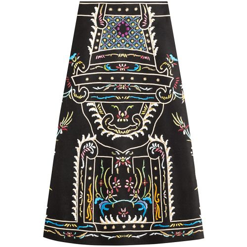 Valentino Embroidered Virgin Wool Skirt