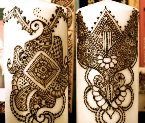 Свечи украшенные хной (мехенди)