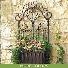 "La Reine Wall Planter Ballard Outdoor Wall Planter $148 Overall: 39""H X 24 3/4""W X 10 1/2""D Metal Planter Insert: 6 3/4""H X 18 1/2""W X 7""D Construction: Made of iron. Country of Origin: Mexico Additional Information: To maintain, paint with lacquer once a year."