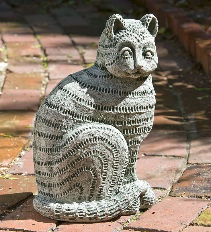 Photo of Williamsburg Delft Cat Garden Statue • Handcrafted …