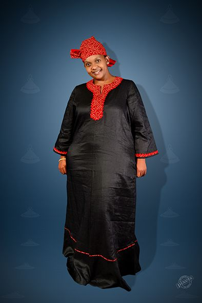 Red and Black linen and seshoeshoe/ seshweshwe Kaftan