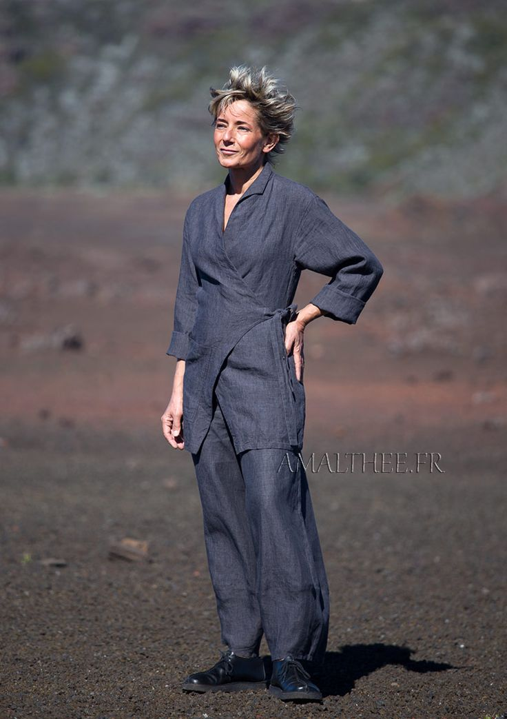 slate grey flax linen outfit for women -:- AMALTHEE -:- n° 3427