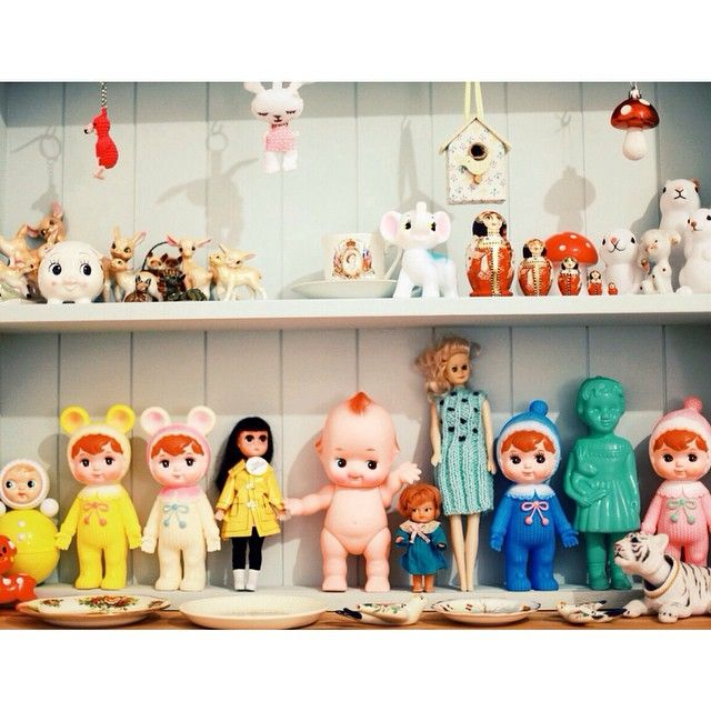 Cute kitch collection, shelf with Kewpie doll, Woodland dolls, deer, Clonette deidei, and Rolypoly doll by blossom.trotter