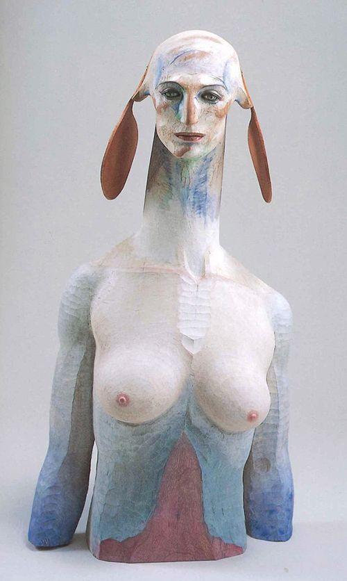 舟越桂 《もうひとりのスフィンクス》Entitled ≪Another Sphinx≫ 'Hunakoshi Katura' sculptor of modern Japanese. Wood carving,  coloring.