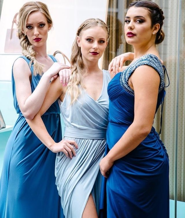 Beautiful Blues. Mix and match your bridesmaids individual style at Nora and Elle Bridesmaids.