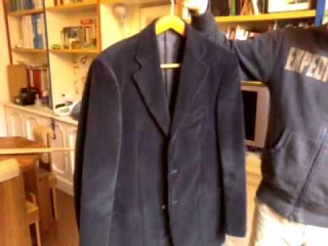 giacca di velluto - velvet jacket blue ribbed - £49