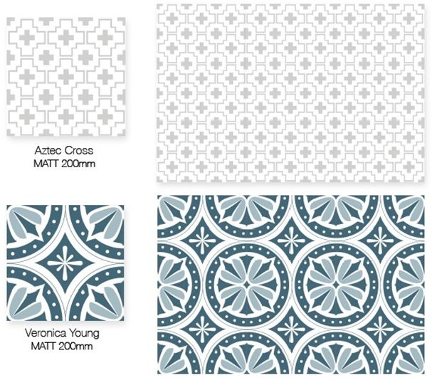 200x200mm wall and floor patterned tiles. There are many patterns and colours to choose from.