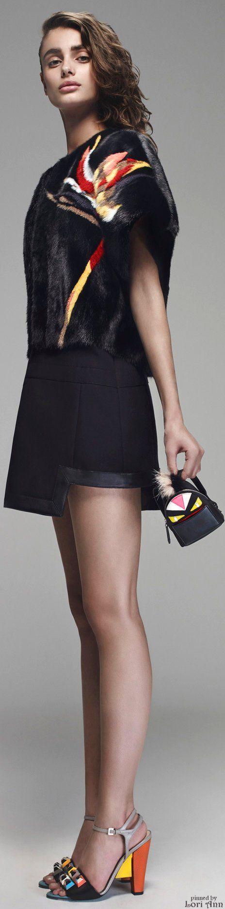 Fendi Resort 2016, love this black (faux) fur top // Pinned by Dauphine Magazine x Castlefield - Curated by Castlefield Bridal & Branding Atelier and delivering the ultimate experience for the haute couture connoisseur! Visit www.dauphinemagazine.com, @dauphinemagazine on Instagram, and @dauphinemag on Pinterest • Visit Castlefield: www.castlefield.co and @ castlefieldco on Instagram / Luxury, haute couture, fashion, weddings, bridal, style, décor, travel, art, design, jewelry, photography