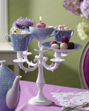 Tea cups on candle stick holder  Idea for all grandmas tea cups, saucers and candle holders