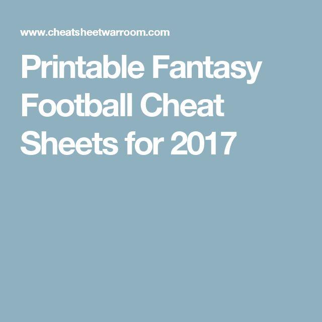 Printable Fantasy Football Cheat Sheets for 2017