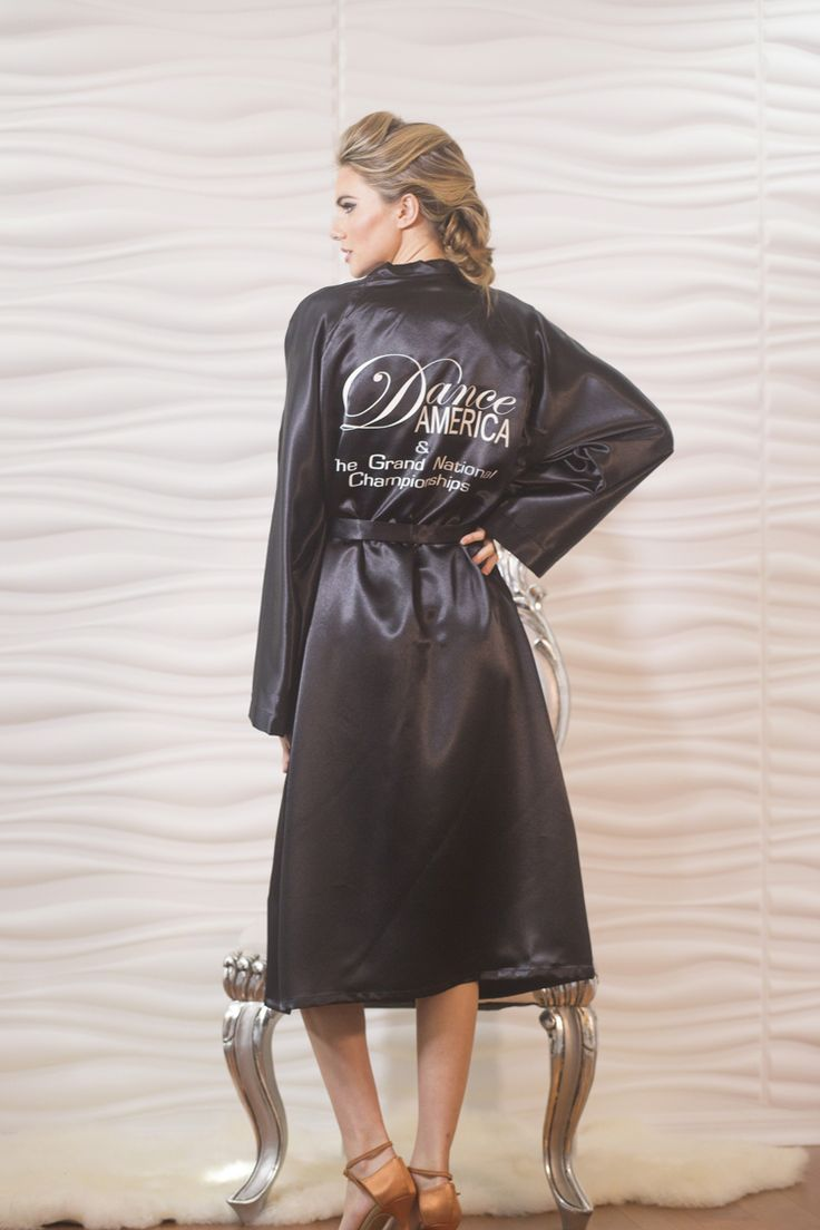 Dance America Signature Robe   One Size Fits Most   Black Crepe Satin