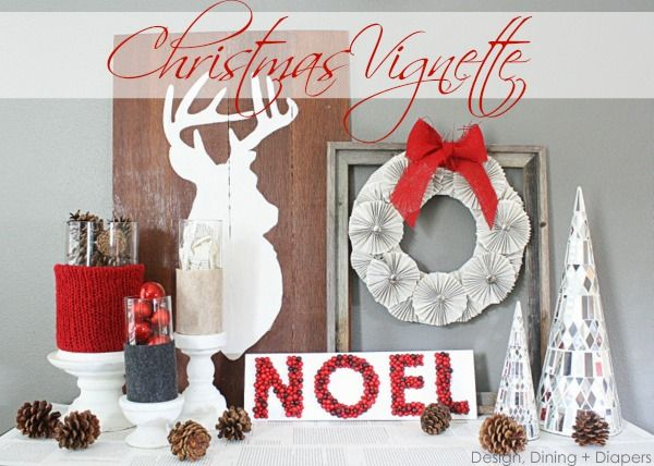 Christmas Vignette by Design, Dining + Diapers, red & Gray, rustic christmas, holiday decor, red christmas, deer silhouette, bookpage wreath, bookpage decor. #christmasdecorations #holidaydecor #silhouette