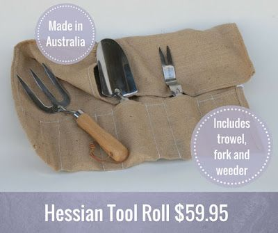 Hessian Tool Roll $59.95 - An Australian-made hand tool set that will put a smile on any gardener's face. #gardengifts #giftsformen #gardentools
