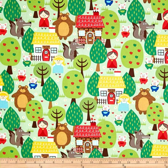 Michael Miller Into The Forest Green from @fabricdotcom  Designed for Michael Miller Fabrics, this cotton print features a fairy tale forest motif. Perfect for quilting, apparel and home décor accents. Colors include white, black, yellow, shades of green, shades of blue, shades of brown and shades of red.